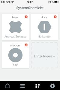 Systemübersicht der iOS-App von Gigaset Elements